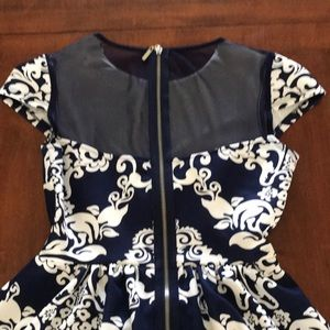 B Darlin Dresses - Beautiful Navy Blue Dress with White Print